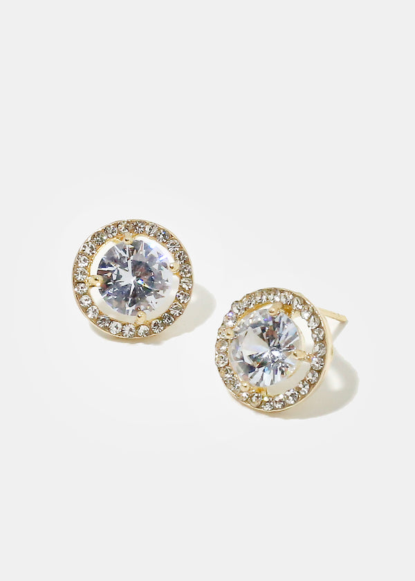 Rhinestone Circle Stud Earrings