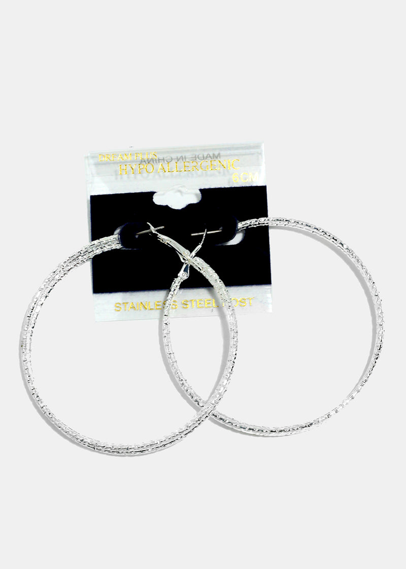 Triple Layered Silver Hoops