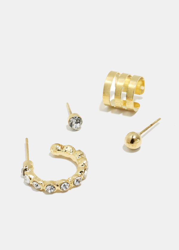 4-Piece Cuff & Rhinestone Earrings