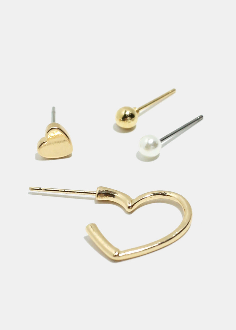 4-Piece Heart & Stud Earrings