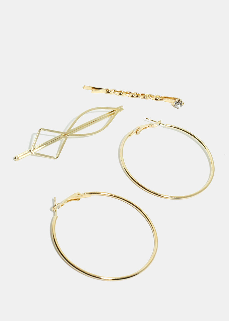 3 Piece Hoop Earrings & Hair Pin Set