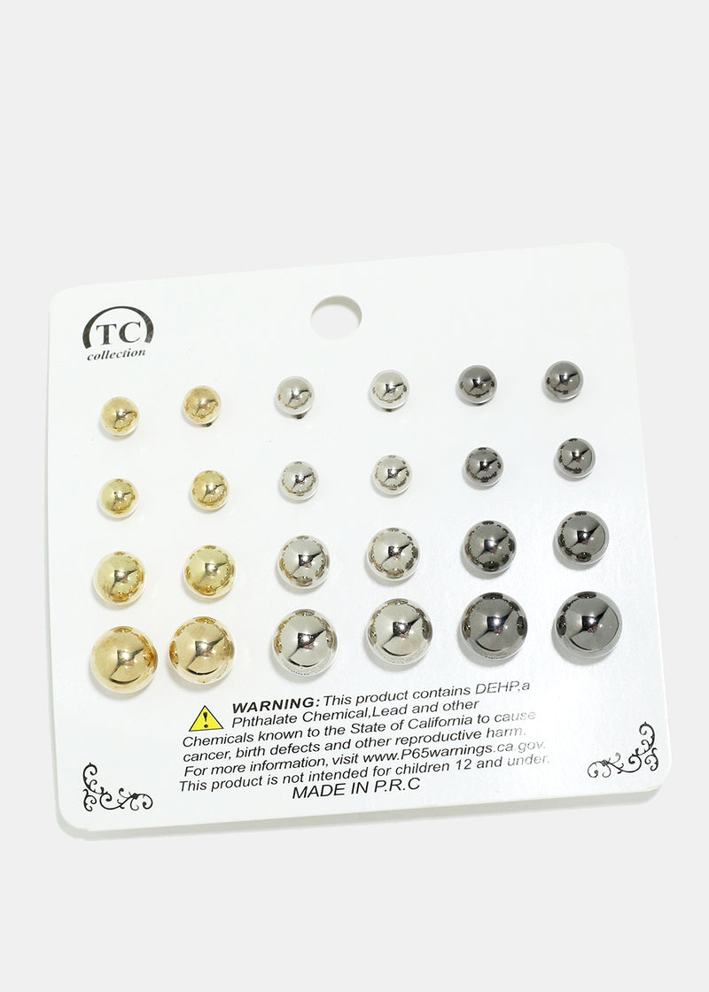 12-Pair Metal Ball Earrings