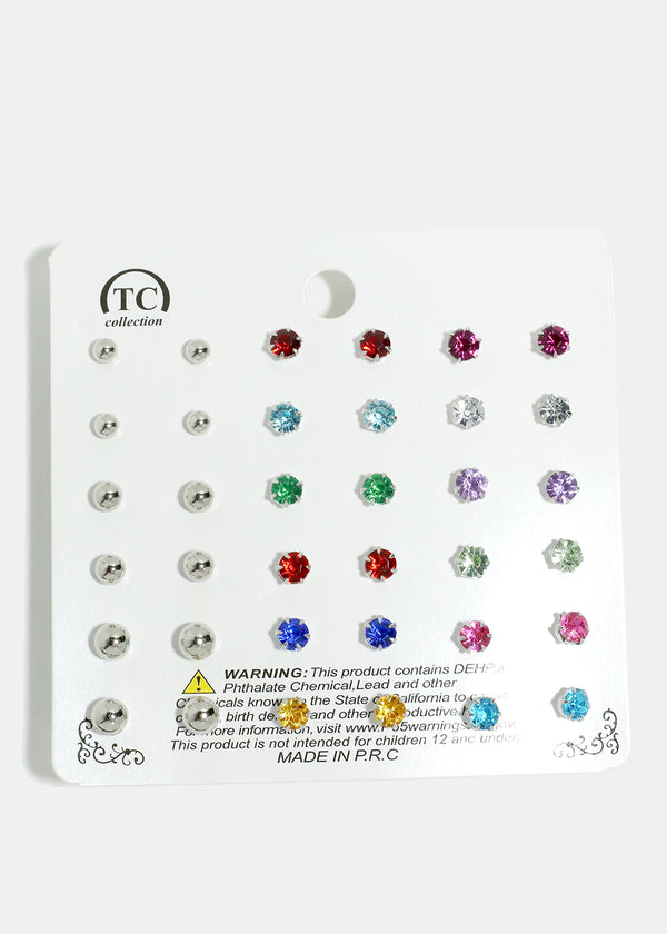 18-Pair Gemstone & Metal Ball
