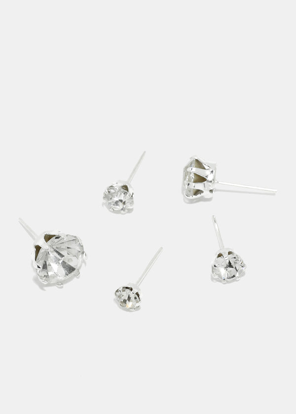 15-Pair Clear Rhinestone Stud Earrings
