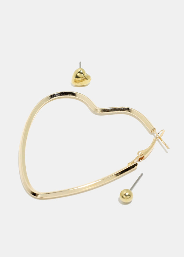 3-Pair Stud & Heart Hoop Earrings