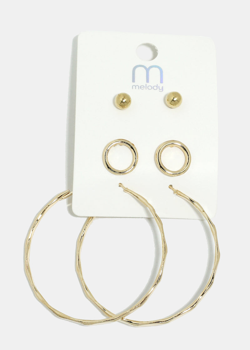 3-Pair Stud & Circle Hoop Earrings