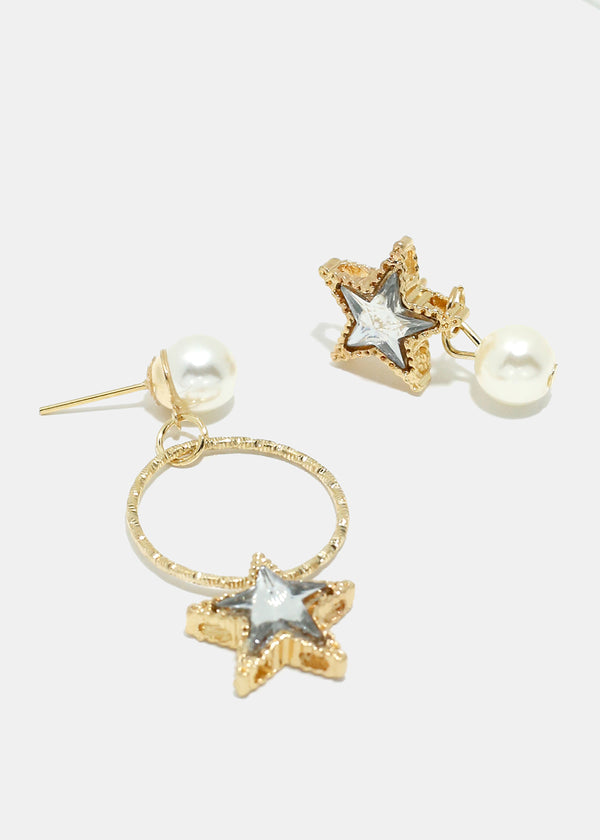 Pearl & Star Circle Earrings