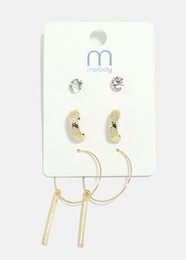 3-Pair Bar Hoop Earrings