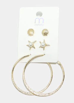 3-Pair Seashell & Starfish Hoop Earrings