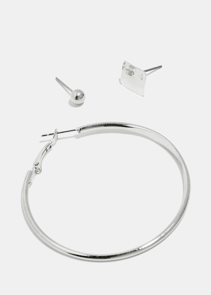 3-Pair Square & Hoop Earrings