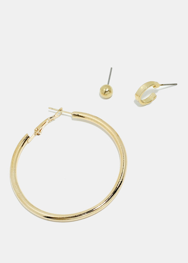 3-Pair Metal Ball & Hoop Earrings