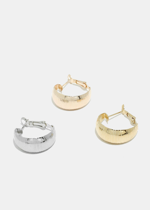 3-Pair Small Thick Hoop Earrings