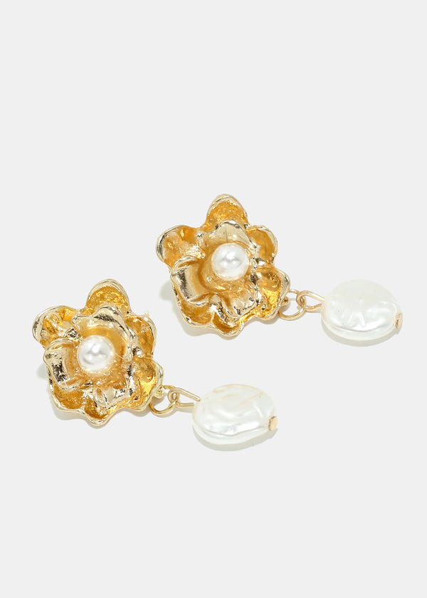 Pearl & Metal Flower Earrings
