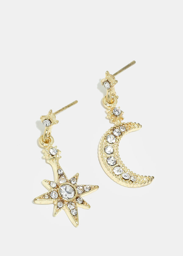 Rhinestone Moon & Star Earrings