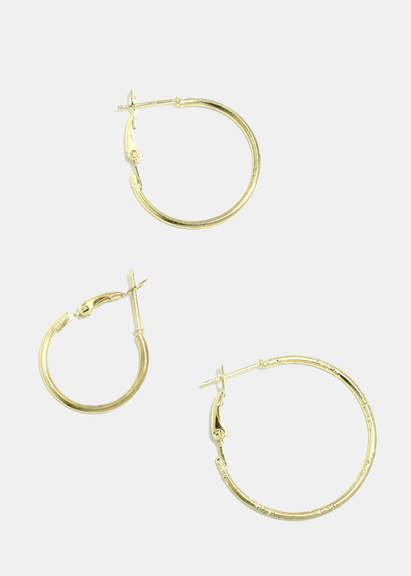 9-Pair Multi Size Hoop Earrings