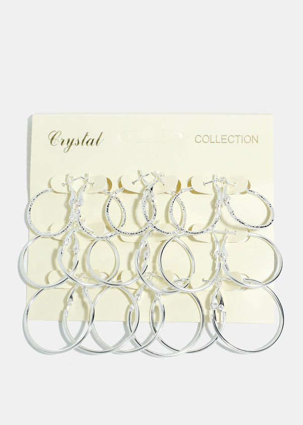 9-Pair Multi Size Silver Hoop Earrings