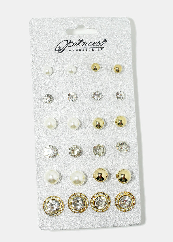 12-Pair Multi Design Earrings