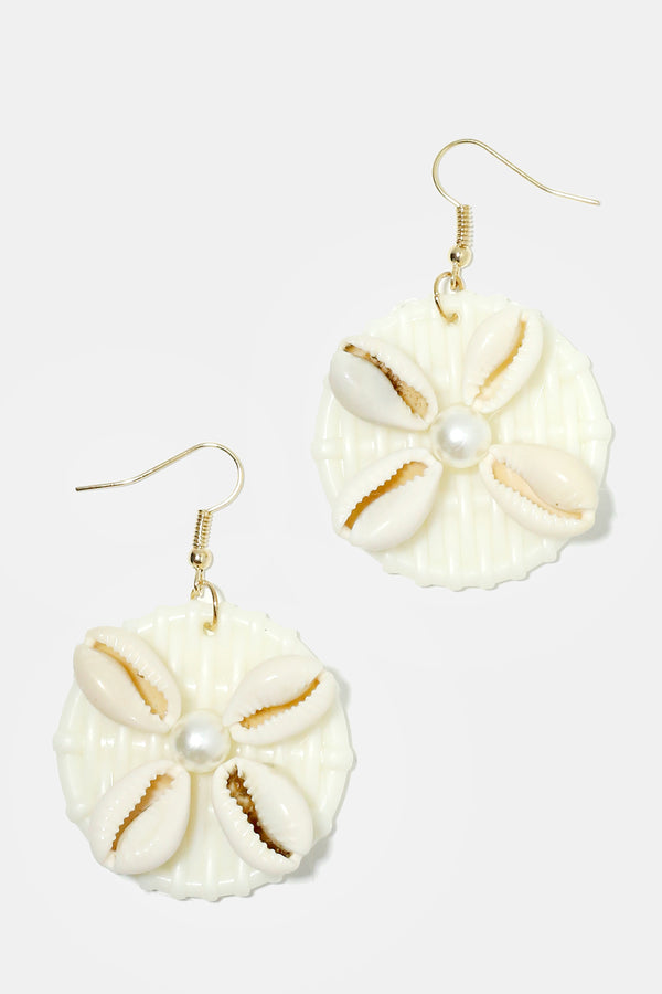 Basketweave Circled Cowrie Shell Earrings