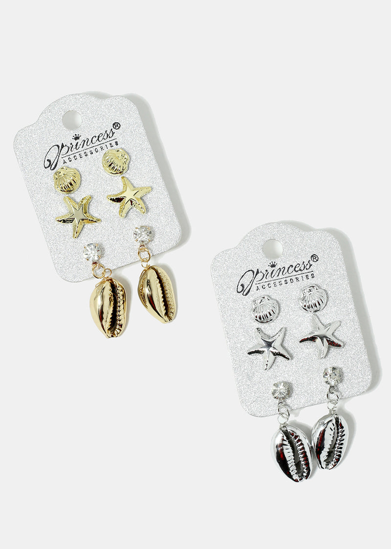 3-Pair Starfish & Cowrie Shell Earrings