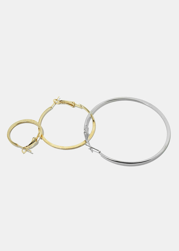 6-Pair Flat Hoop Earrings