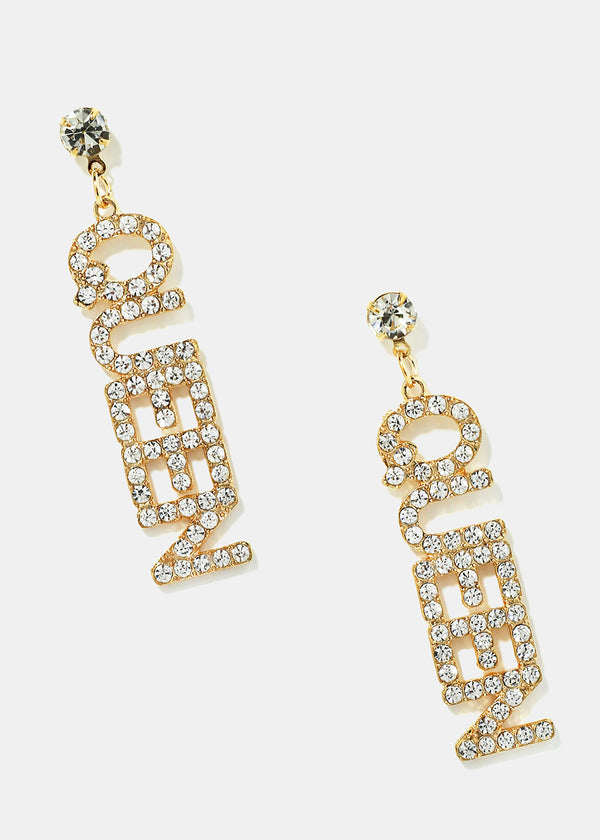 "Rhinestone Studded ""QUEEN"" Earrings"