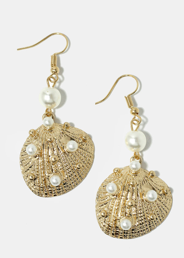 Pearl Studded Seashell Earrings