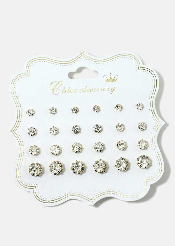 12 Pair Rhinestone Stud Earrings
