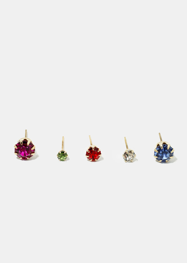 12-Pair Multi Color Stud Earrings