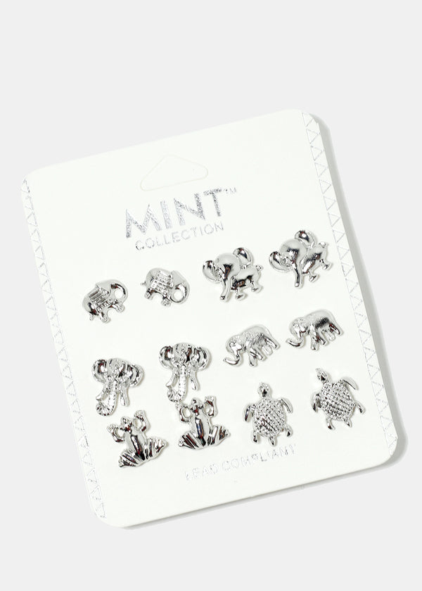6-Pair Animal Stud Earrings