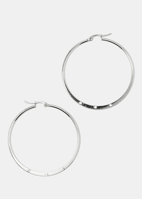 Rhinestone Flat Hoop Earrings