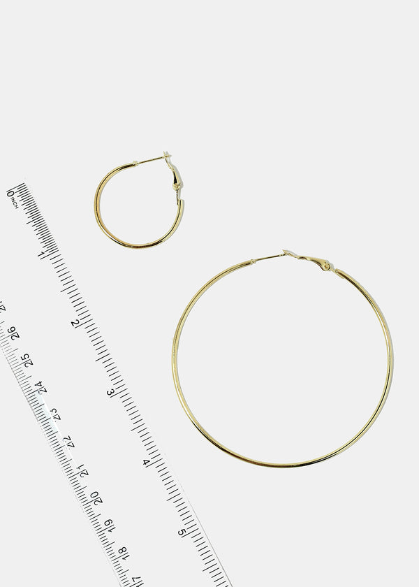 6-Pair Gold Hoop Earrings
