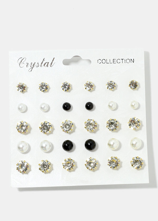 15-Pair Multi Design Stud Earrings