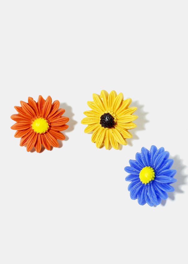 6-Pair Daisy Flower Earrings