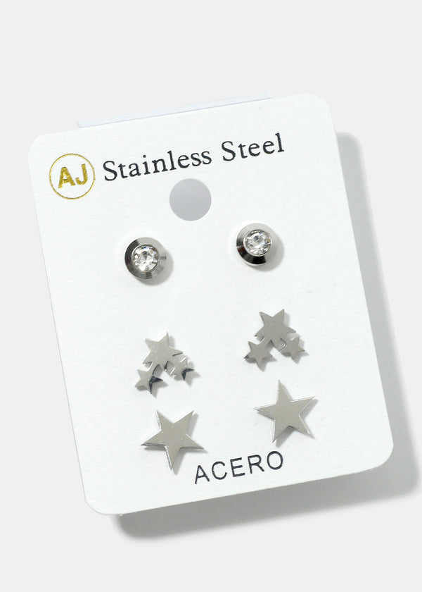 3-Pair Star Stud Earrings