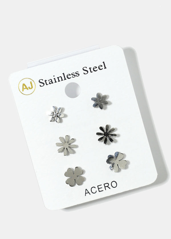 3-Pair Flower Stud Earrings