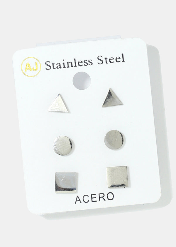 3-Pair Multi Shape Stud Earrings