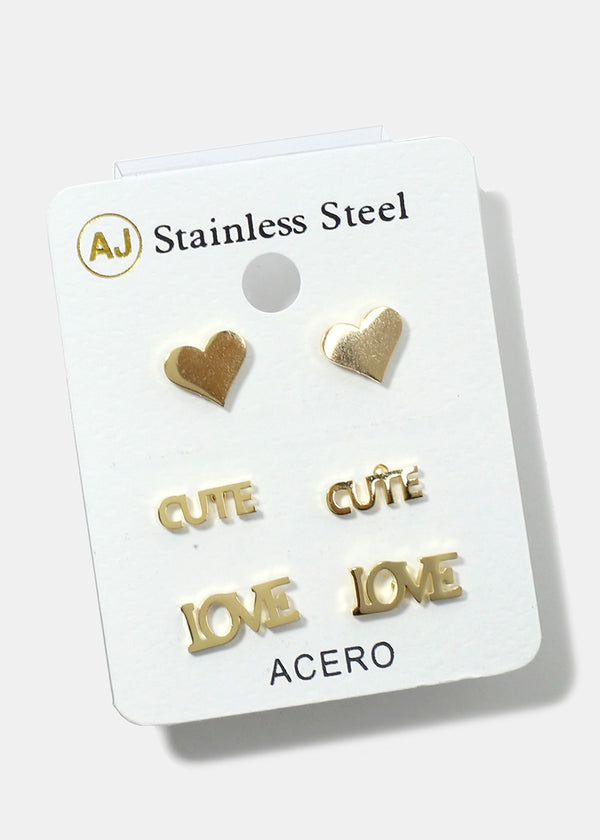 3-Pair Love Stud Earrings