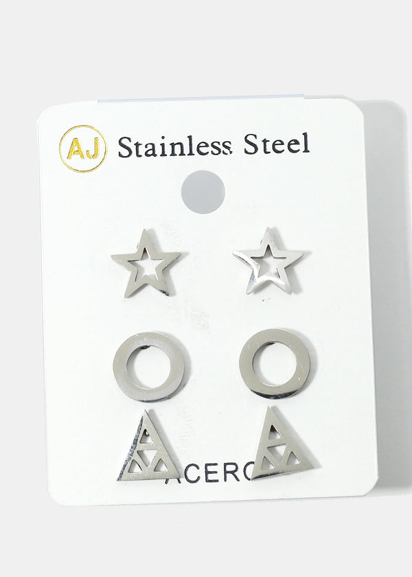 3-Pair Patterned Stud Earrings