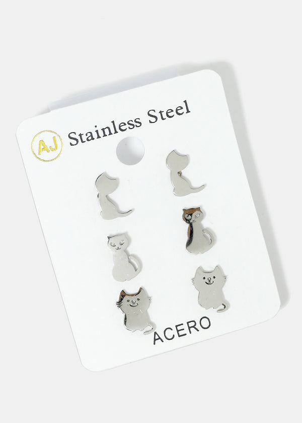 3-Pair Cat Stud Earrings