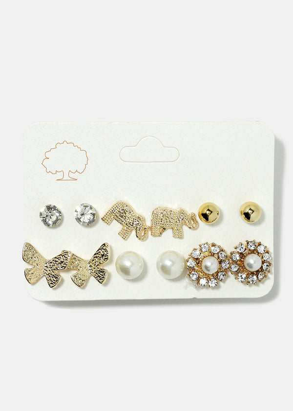 6-Pair Butterfly & Elephant Stud Earrings