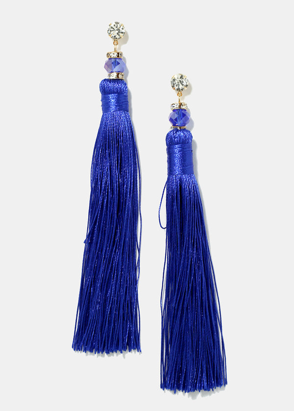Rhinestone Accent & Tassel Earrings