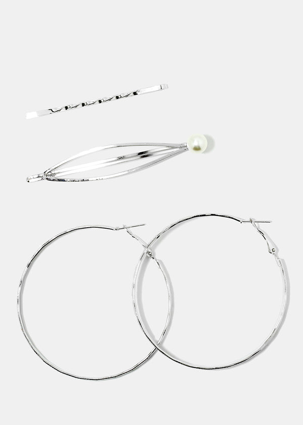 3-Piece Hoop Earrings & Hair Pin Set