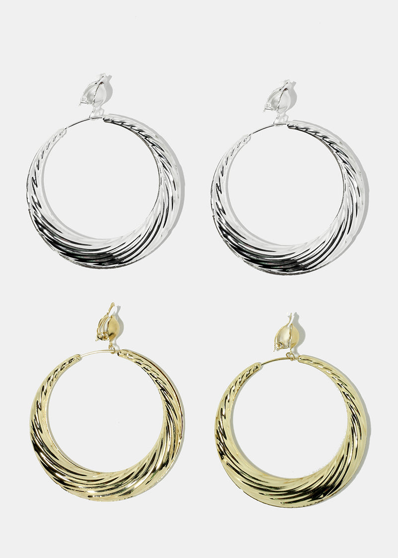 Thick Textured Clip-On Hoops