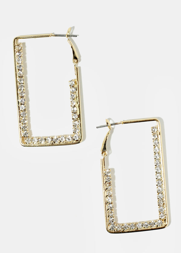 Rhinestone Studded Rectangle Earrings
