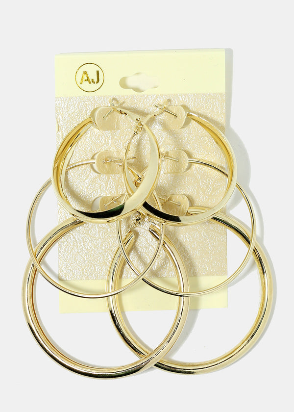 3-Pair Multi Size Hoop Earrings