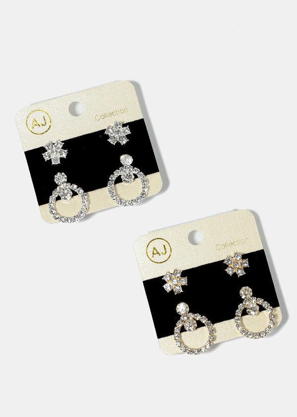 2-Pair Rhinestone Studded Circle & Flower Earrings