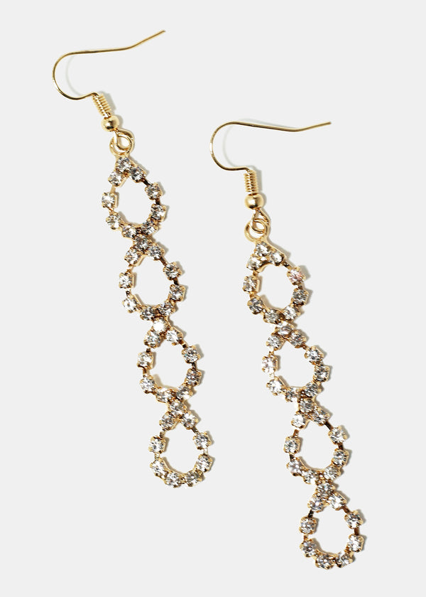 Rhinestone Twisted Dangle Earrings