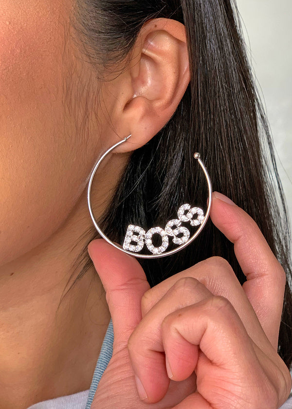 "Rhinestone ""BOSS"" Open Hoop Earrings"