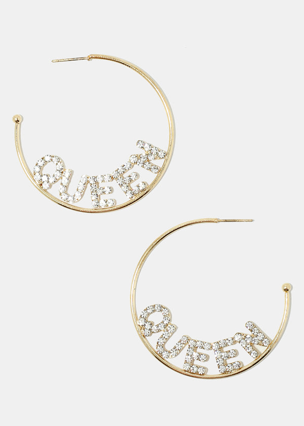 "Rhinestone ""QUEEN"" Open Hoop Earrings"