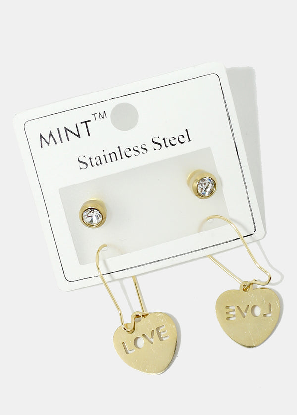 "2-Pair Rhinestone & ""LOVE"" in Heart Earrings"